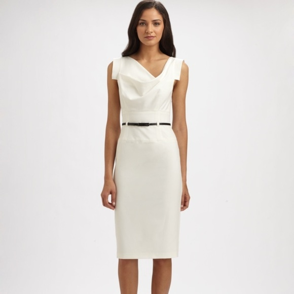 943b332885e Black Halo White Classic Jackie O Midi Dress Large